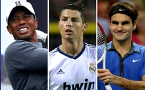 Roger Federer, David Beckham, Cristiano Ronaldo, Forbes, Tiger Woods
