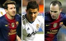FC Barcelona, Cristiano Ronaldo, Lionel Messi, Atltico de Madrid, Andrs Iniesta, Manchester United, Real Madrid