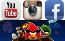 YouTube, Angry Birds, Instagram, WhatsApp, Draw Something, Flashlight