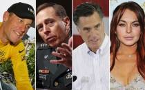 Lindsay Lohan, , Lance Armstrong, David Petraeus, Mitt Romney